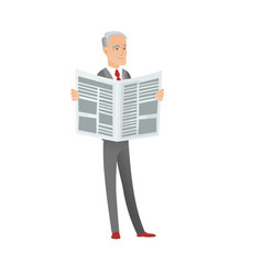 senior caucasian businessman reading newspaper vector image vector image