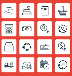 Set of 16 e-commerce icons includes spectator vector