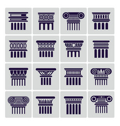 silhouette ancient rome architecture column icons vector image vector image