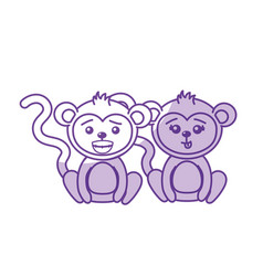 Silhouette cute couple monkey wild animal with vector