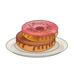 sweet donuts on dish vector image