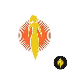 Tanning salon logo solarium concept woman figure vector