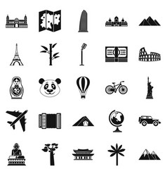 Trip icons set simple style vector
