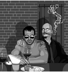 Two men sitting in a bar at the table vector image vector image