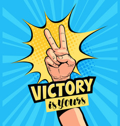 Victory is yours lettering motivation poster vector