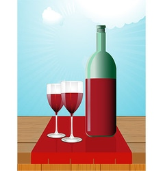 Wine bottle and glasses on wooden table vector image vector image