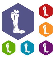Zombie leg icons set hexagon vector