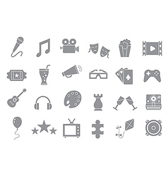 Set of entertainment gray icons vector