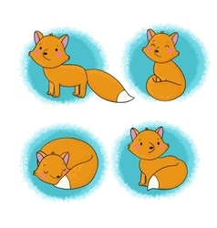 Set of cute little fox vector