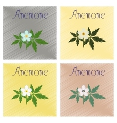 Assembly flat shading style icon flower anemone vector
