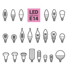 Led light e14 bulbs outline icon set vector
