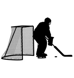 silhouette of hockey goalkeeper isolated on white vector image