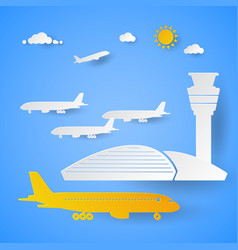 Airport terminal with planes cut paper vector