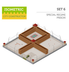 flat 3d isometric special regime prison jail for vector image