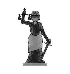 color blurred stripe of goddess of justice symbol vector image