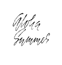 Aloha summer hand drawn lettering isolated on vector