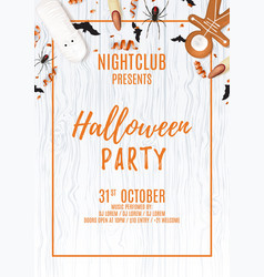 Beautiful halloween party flyer with treats vector