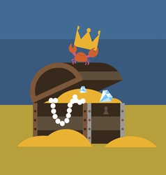 Crab and chest with gold vector