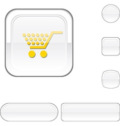 Shopping white button vector