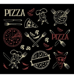 Set of pizza icons and design elements vector