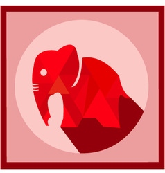 Red color elephant polygonal design vector