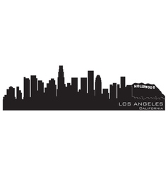 Los angeles california skyline detailed silhouette vector