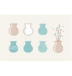 Doodle vases and flower design vector