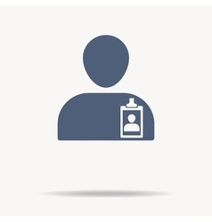 Man with identification card icon single flat vector