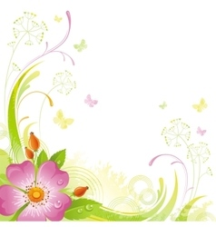 Floral summer background with pink wild rose vector image