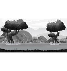 Black and white seamless spring forest landscape vector