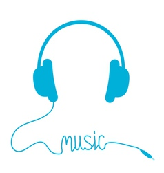 Blue headphones with cord in shape of word music vector