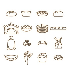 Bread linear icon set baking bakery products vector