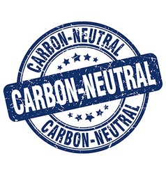 Carbon-neutral blue grunge round vintage rubber vector