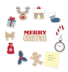 Christmas round frame from paper cutout stickers vector image vector image