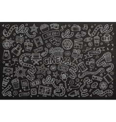 Cinema movie film doodles hand drawn chalkboard vector
