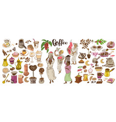 Colorful doodle coffee elements set vector
