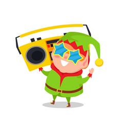 cute elf in star shape glasses cassette recorder vector image
