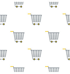 Empty supermarket cart with yellow handles pattern vector
