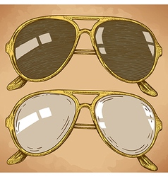 Engraving sunglasses retro vector