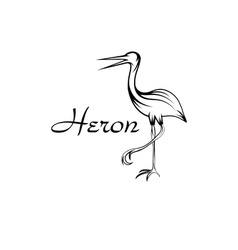 Heron bird in outline style vector image