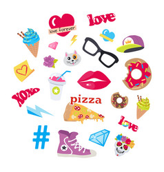 icons set stickers snack accessory items vector image vector image