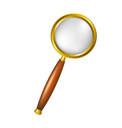 Magnifying glass in golden design vector