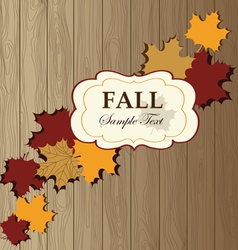 Maple leaves on wooden background texturefall pat vector image
