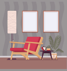 retro interior with two wall frames for copy space vector image