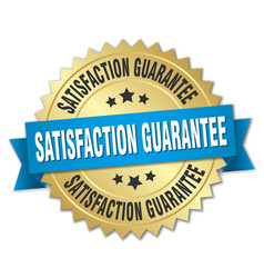 Satisfaction guarantee round isolated gold badge vector