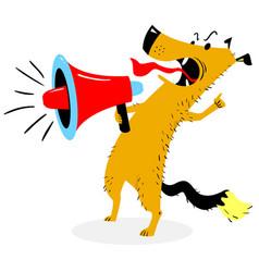 screaming dog the dog barks into the loudspeaker vector image