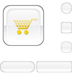 Shopping white button vector