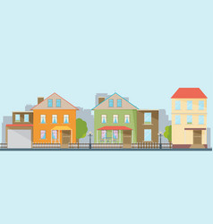 Small town urban landscape in flat design style vector