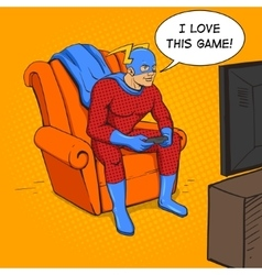 Superhero playing the game console vector