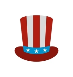 Top hat in the USA flag colors icon flat style vector image vector image